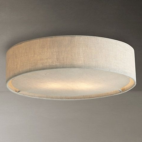 Small Chandeliers For Low Ceilings Intended For Well Liked John Lewis Samantha Linen Flush Ceiling Light (View 7 of 10)