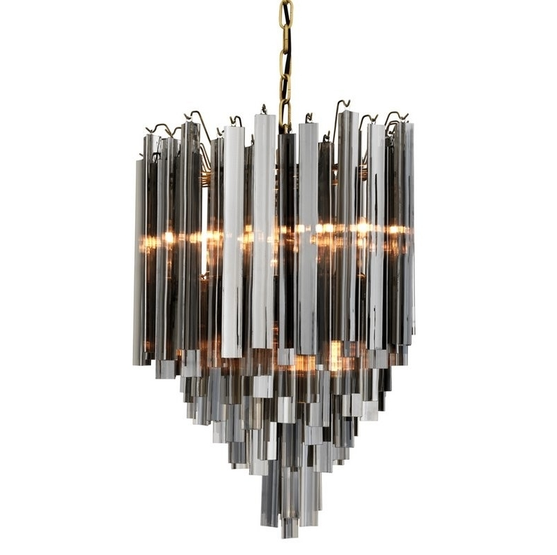 Smoked Glass Chandelier With Trendy Salerno Smoked Glass Chandelier (View 8 of 10)