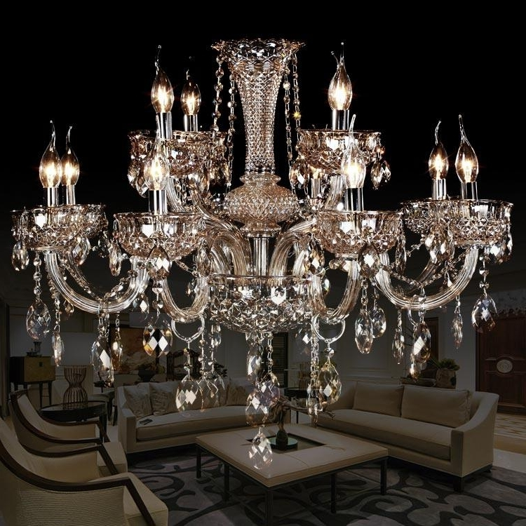Smoky Grey Crystal Chandelier Luxury Living Room Crystal Lights Regarding Latest Grey Crystal Chandelier (View 8 of 10)