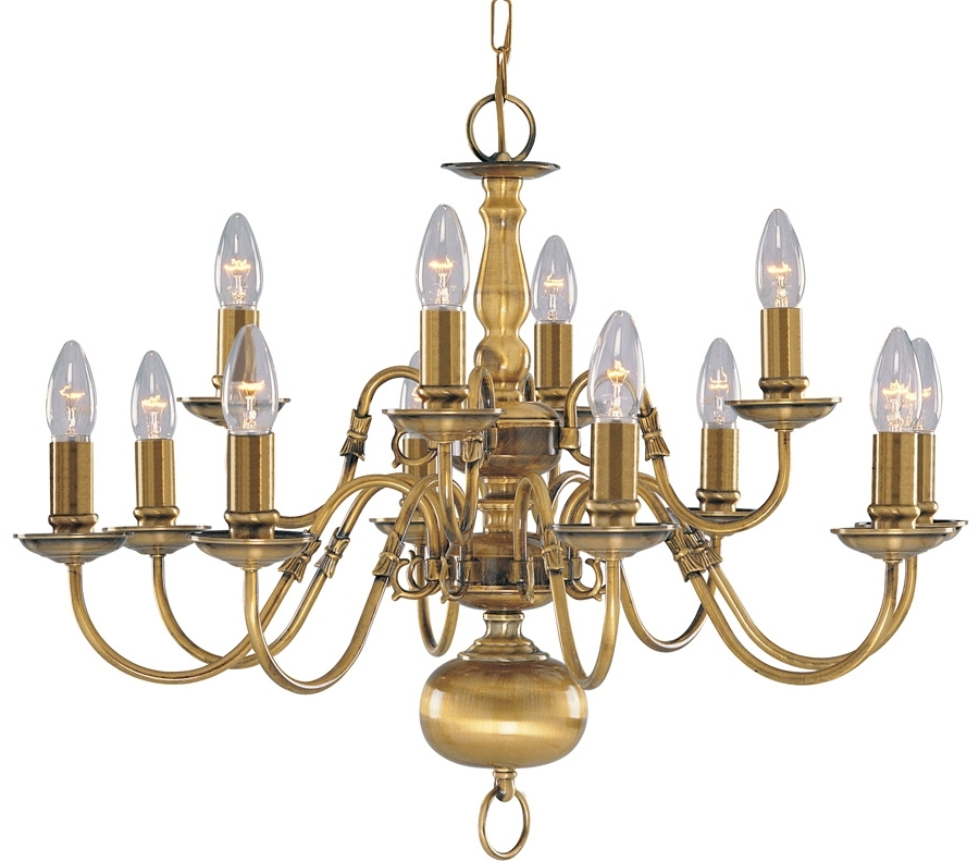 Solid Antique Brass Flemish 12 Light Chandelier 1019 12Ab Regarding Famous Traditional Brass Chandeliers (View 6 of 10)
