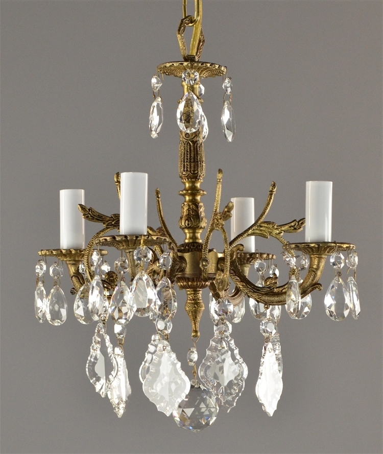 Spanish Brass & Crystal Chandelier C1950 With Regard To 2018 Brass And Crystal Chandelier (View 7 of 10)