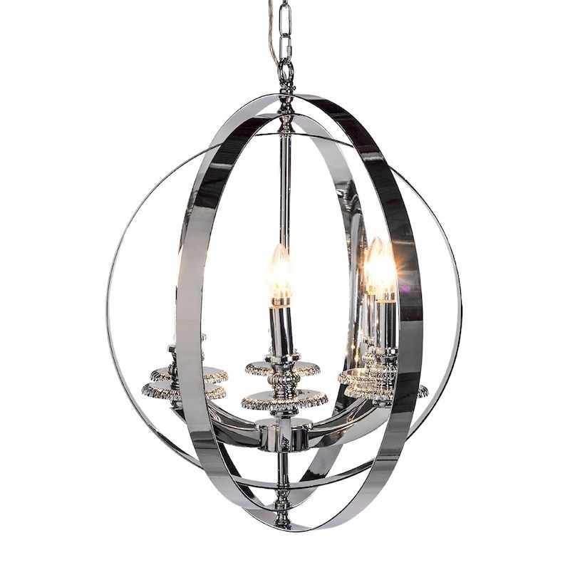 Sphere Chandelier Inside Best And Newest Chrome Sphere Chandelier – Large (View 6 of 10)