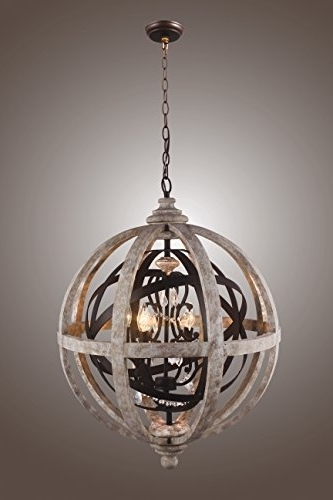 Sphere Chandelier Regarding Well Liked Globe Orb Sphere Chandelier Wood Metal Frame Crystal Pendant Lamp Lustre (View 9 of 10)