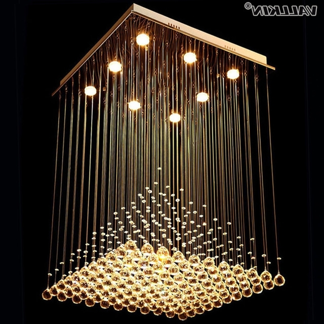 Square Crystal Chandeliers Lighting For Living Room Led Indoor With Regard To Well Known Modern Chandeliers (View 7 of 10)
