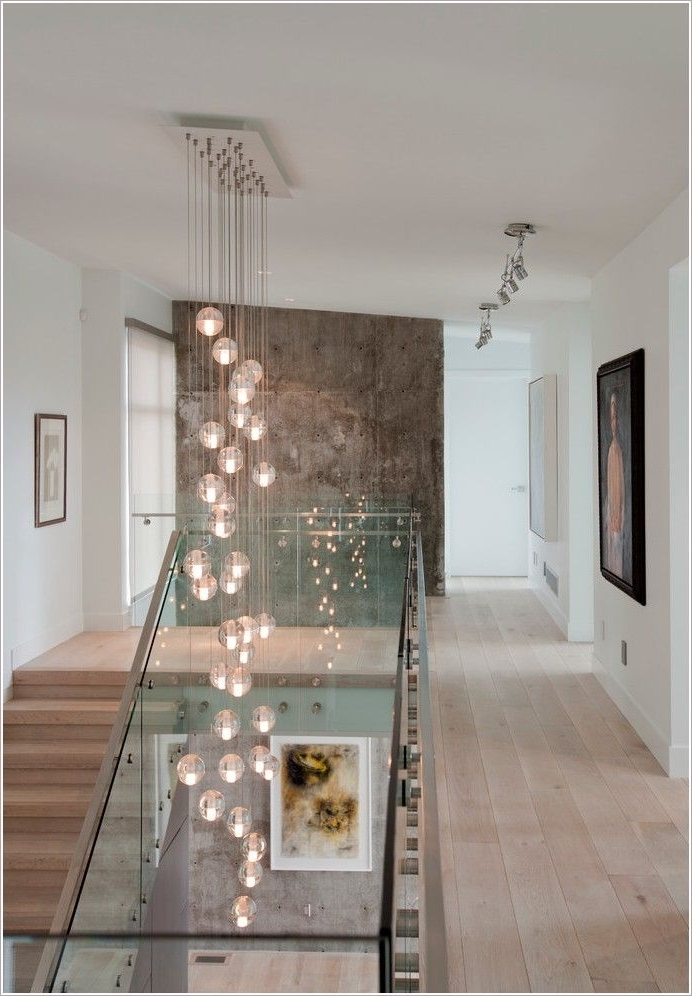 Stairwell Chandelier Inside Favorite Contemporary Staircase And Chandelier Ideas For Home For Foyer (View 5 of 10)