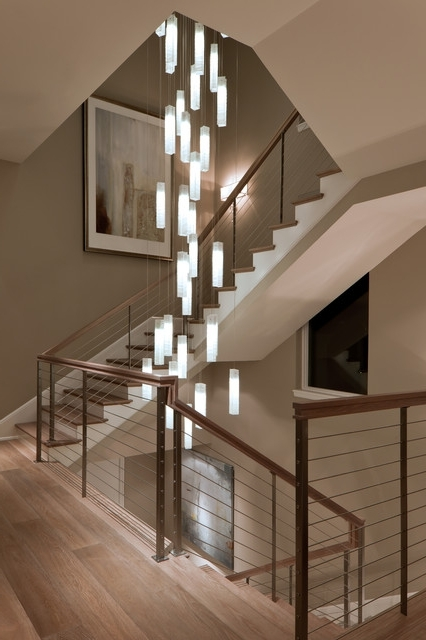 Stairwell Chandelier Inside Well Known Tanzania Chandelier – Contemporary Living Room Stairwell Light (View 6 of 10)