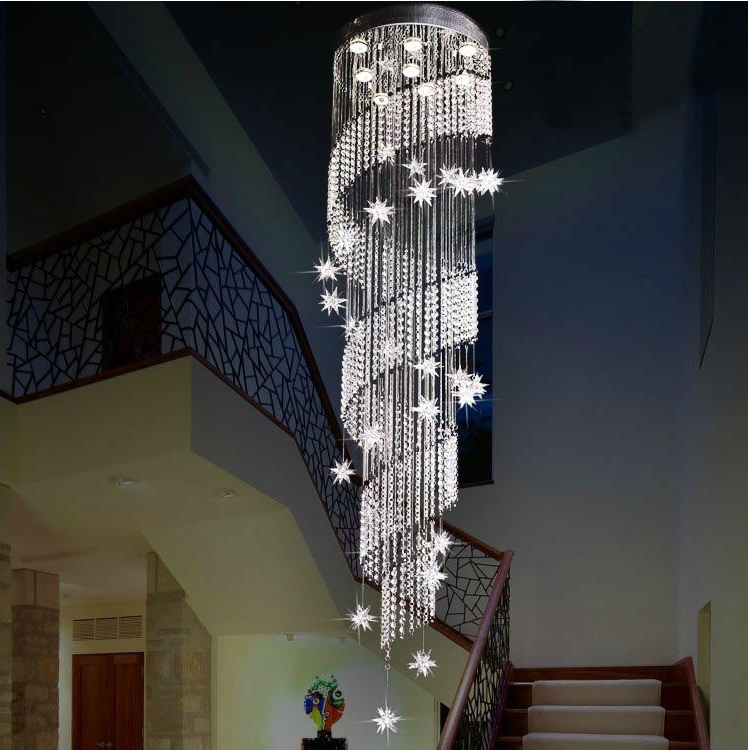 Stairwell Chandelier Intended For Current Crystal Stairs Chandelier – Buy Chandelier,crystal Stairs Chandelier (View 7 of 10)