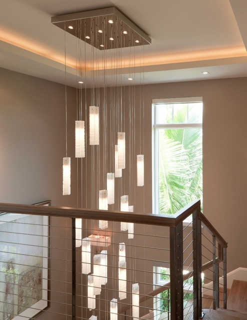 Stairwell Chandelier Lighting Intended For Trendy Tanzania Chandelier – Contemporary Living Room Stairwell Light (View 7 of 10)