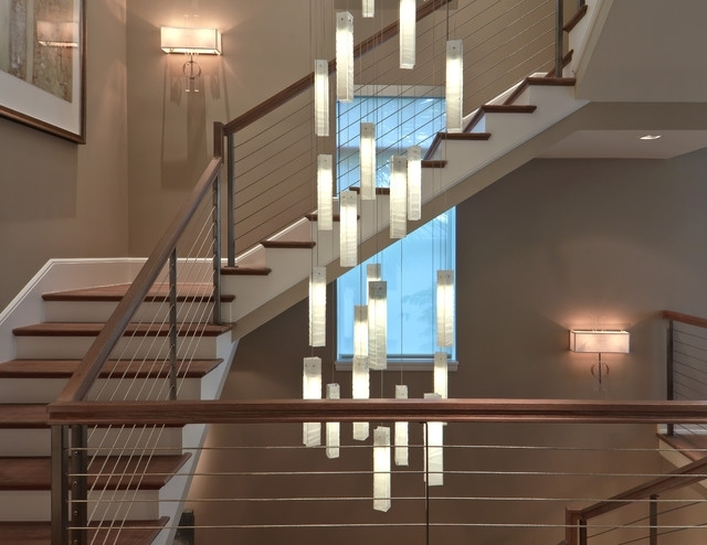 Stairwell Chandelier Lighting Regarding Current Tanzania Chandelier – Contemporary Living Room Stairwell Light (View 8 of 10)