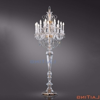 Standing Chandelier Floor Lamps Pertaining To Current Crystal Candelabra Vintage Chandelier Floor Lamp Standing For Hotel (View 8 of 10)