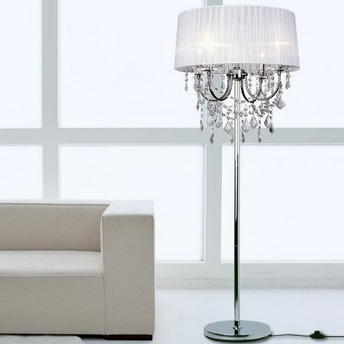 Standing Chandelier Floor Lamps With Regard To Preferred Crystal Chandelier Floor Lamps For The House (View 9 of 10)
