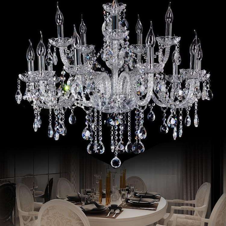 Star Hotel Clear Large Crystal Chandelier Penthouse Modern Big Within Best And Newest Big Chandeliers (View 10 of 10)