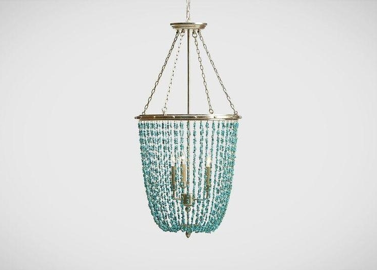 Stone Beaded Chandelier Regarding Latest Turquoise Blue Beaded Chandeliers (View 7 of 10)