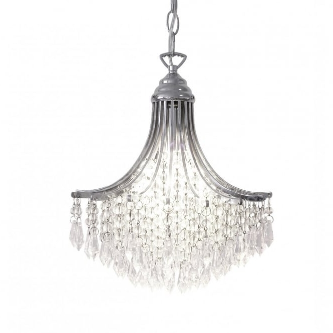 Suri Double Insulated Chrome & Crystal Chandelier In Newest Small Chrome Chandelier (View 6 of 10)