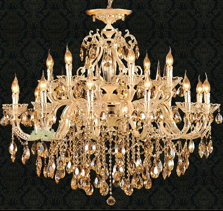 Svitz Gold Led Candle Chandelier Lighting For Living Room Hotel Throughout Most Current Crystal Gold Chandelier (Gallery 5 of 10)