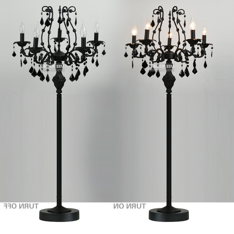 Tall Standing Chandelier Lamps Intended For Trendy Black Chandelier Floor Lamp (View 9 of 10)