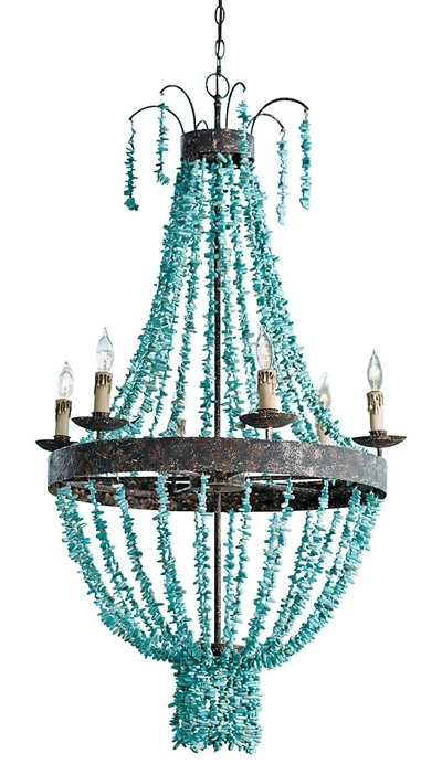 This Turquoise Toluca Chandelier From Regina Andrew Design Features In Most Recent Turquoise Stone Chandelier Lighting (View 7 of 10)