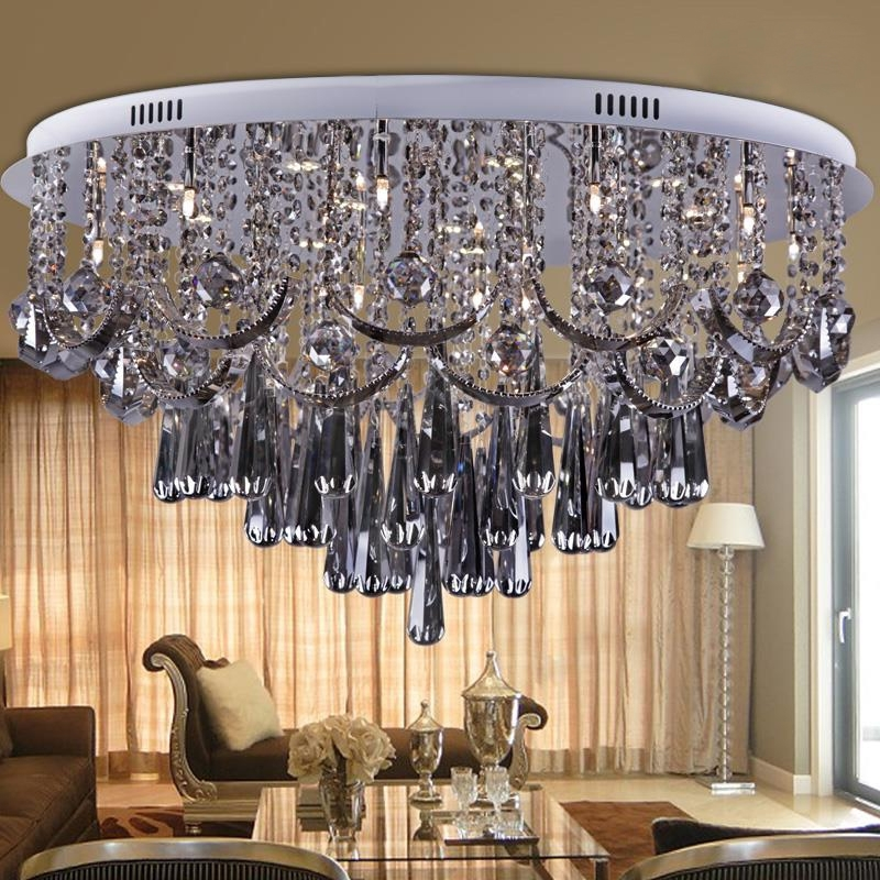 Top Luxury Smoke Grey Crystal Chandelier For Living Room Dia80*h45Cm Regarding Most Popular Grey Crystal Chandelier (View 9 of 10)