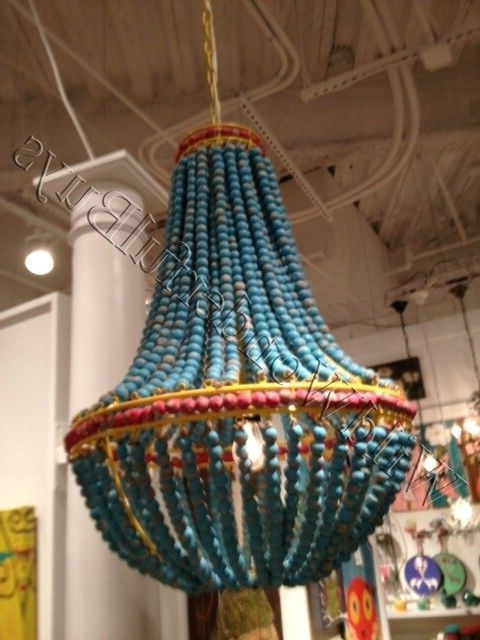 Trendy Ainsley Turquoise Wood Beads Chandelier Beaded Dining Light Aqua With Regard To Turquoise Blue Beaded Chandeliers (View 4 of 10)