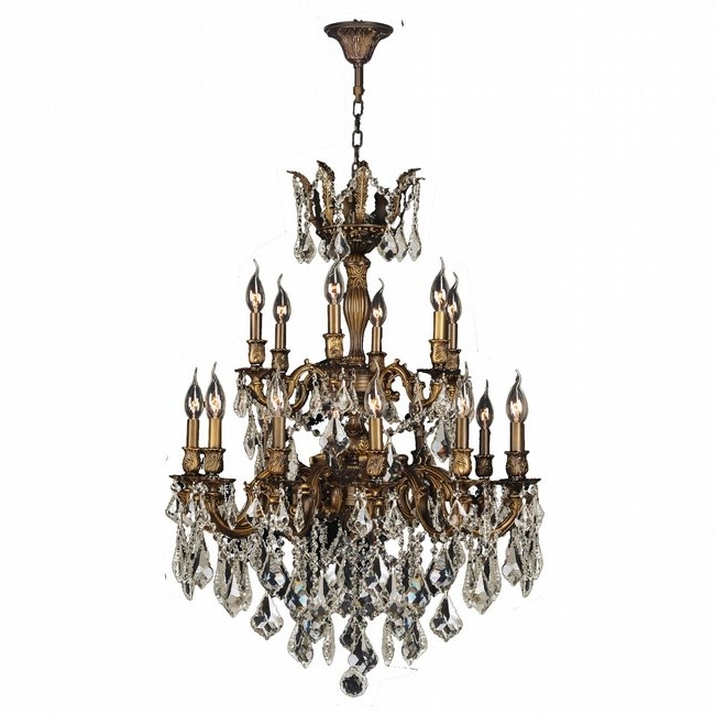 Trendy Bronze And Crystal Chandeliers Intended For Gt Versailles 18 Light Antique Bronze Finish And Golden Teak Crystal (View 10 of 10)