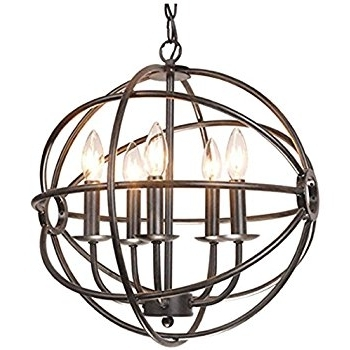 Trendy Chandelier Globe With Regard To Benita 5 Light Antique Black Metal Tube Globe Chandelier – – Amazon (View 8 of 10)