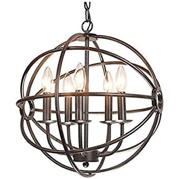 Trendy Chandelier Globe With Regard To Benita 5 Light Antique Black Metal Tube Globe Chandelier – – Amazon (View 9 of 10)