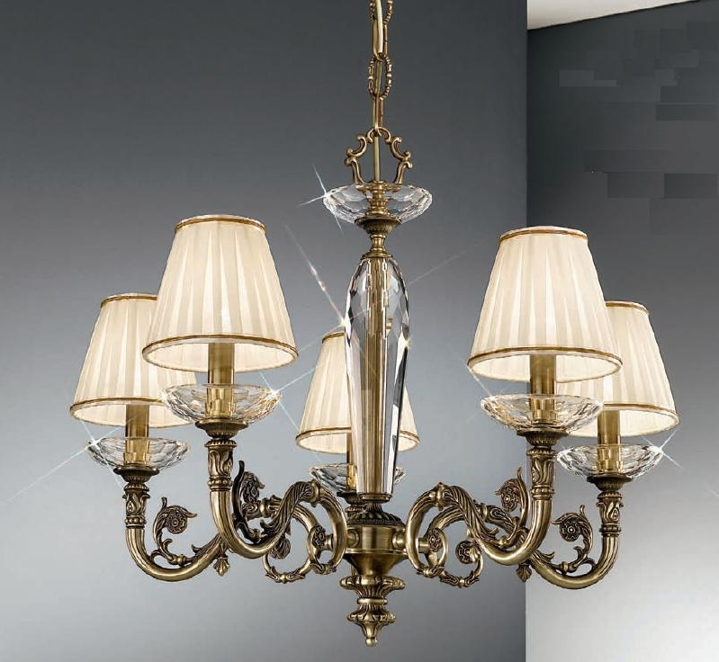 Trendy Clip On Chandeliers Regarding Kolarz Contarini 5 Light Antique Brass Chandelier With Shades (Gallery 6 of 10)