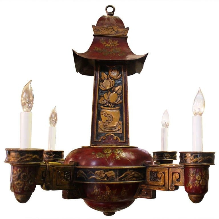 Trendy French Painted Wood And Tole Four Arm Chinoiserie Chandelier With Regard To Chinoiserie Chandeliers (View 10 of 10)