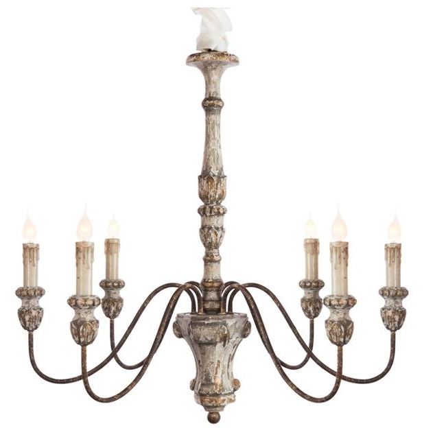 Trendy French Wooden Chandelier Within Catania 6 Light Vintage Style French Country Wooden Chandelier (View 10 of 10)
