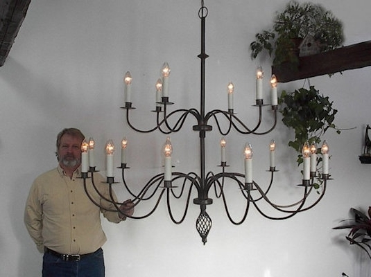 Trendy Large Iron Chandeliers Inside Ace Wrought Iron Custom Large Wrought Iron Chandelier 60 Inch Dia (View 8 of 10)