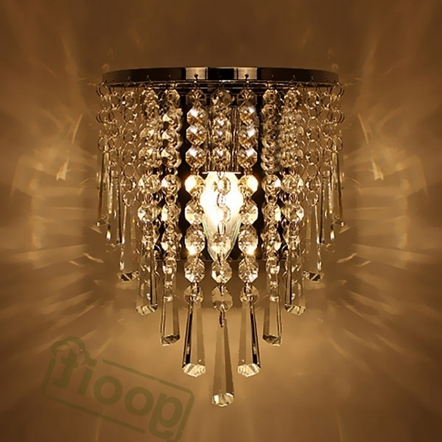 Trendy Modern Crystal Chandelier Wall Light Lighting Fixture 220V E14 Led Intended For Chandelier Wall Lights (View 10 of 10)