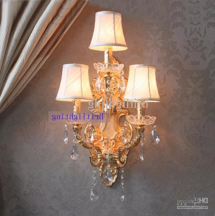 Trendy Modern Wall Lamp Crystal Home Large Sconce Gold Finish Wall Sconces Throughout Wall Mounted Chandelier Lighting (View 7 of 10)