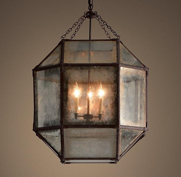 Trendy Octagonal Antique Grey Mirror Chandelier Pertaining To Antique Mirror Chandelier (View 10 of 10)