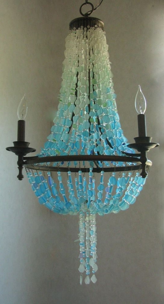Trendy Turquoise Ball Chandeliers Within Sea Glass Chandelier Coastal Decor Beach Glass Ceiling Fixture (View 7 of 10)
