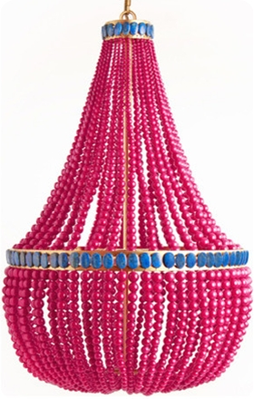 Turquoise And Pink Chandeliers Pertaining To Latest Hot Pink Painted Bead Chandelier (View 8 of 10)