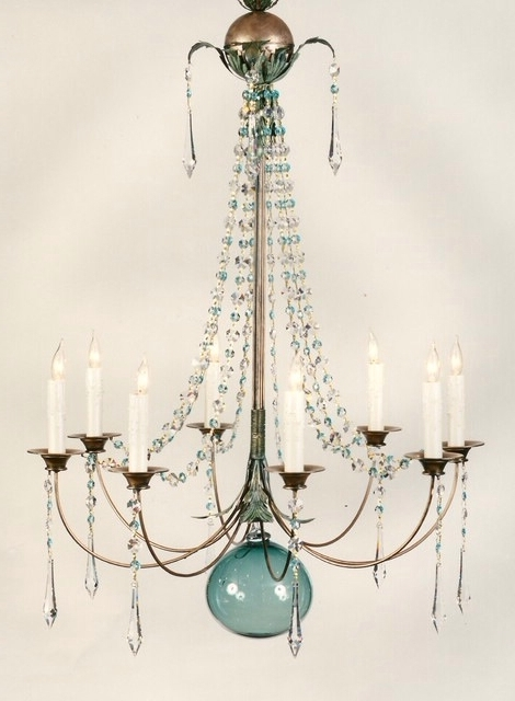 Turquoise Ball Chandeliers Pertaining To Most Recent Hanging Chandelier Light With Blue Green Glass Orb In Middle (View 9 of 10)