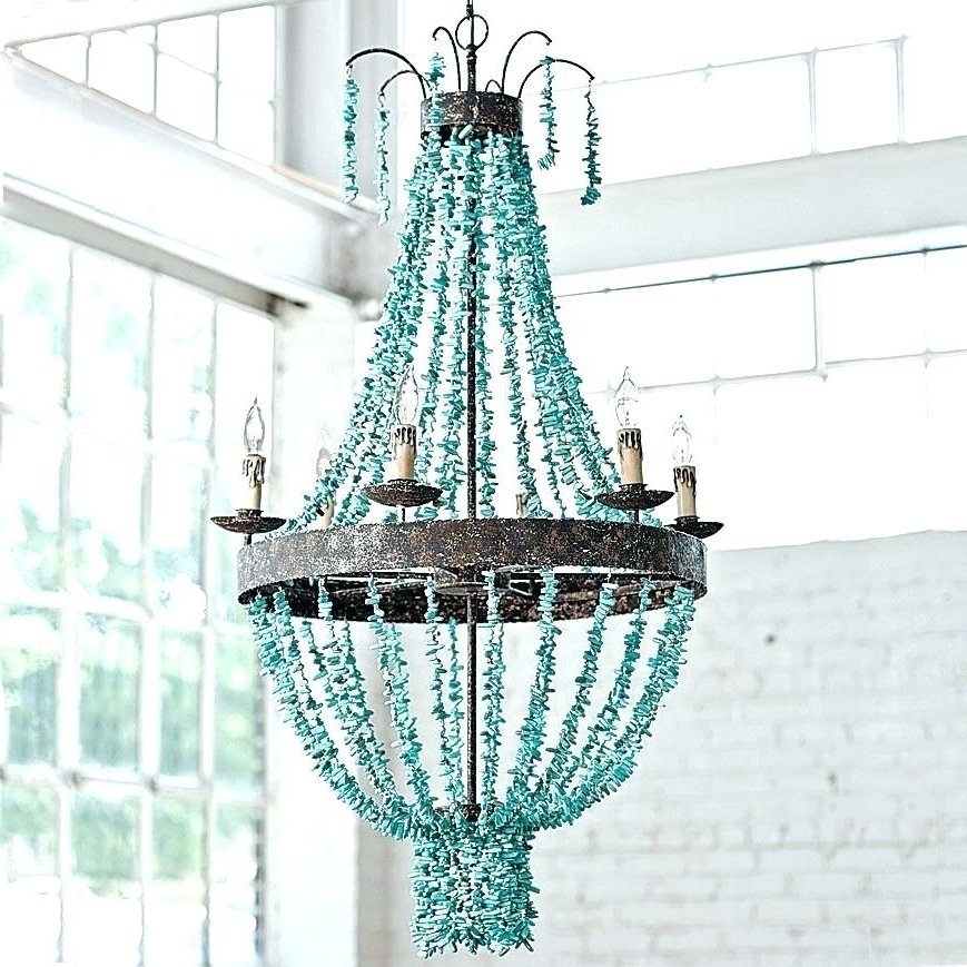 Turquoise Beaded Chandelier Light Fixtures With Popular Turquoise Chandelier Light And Turquoise Beaded Chandelier Design (View 8 of 10)