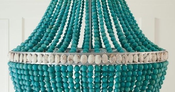 Turquoise Beaded Chandelier Light Fixtures With Regard To Newest Charming Turquoise Light Fixture #5 – Turquoise Beaded Chandelier (View 10 of 10)