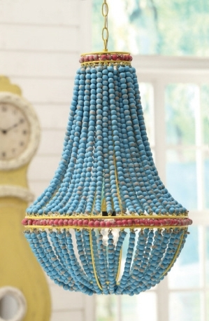 Turquoise Blue Beaded Chandeliers For Well Known 17 1/2 Round X 26H Wood Beaded Chandelier, Blue (40 Watt Bulb (View 9 of 10)