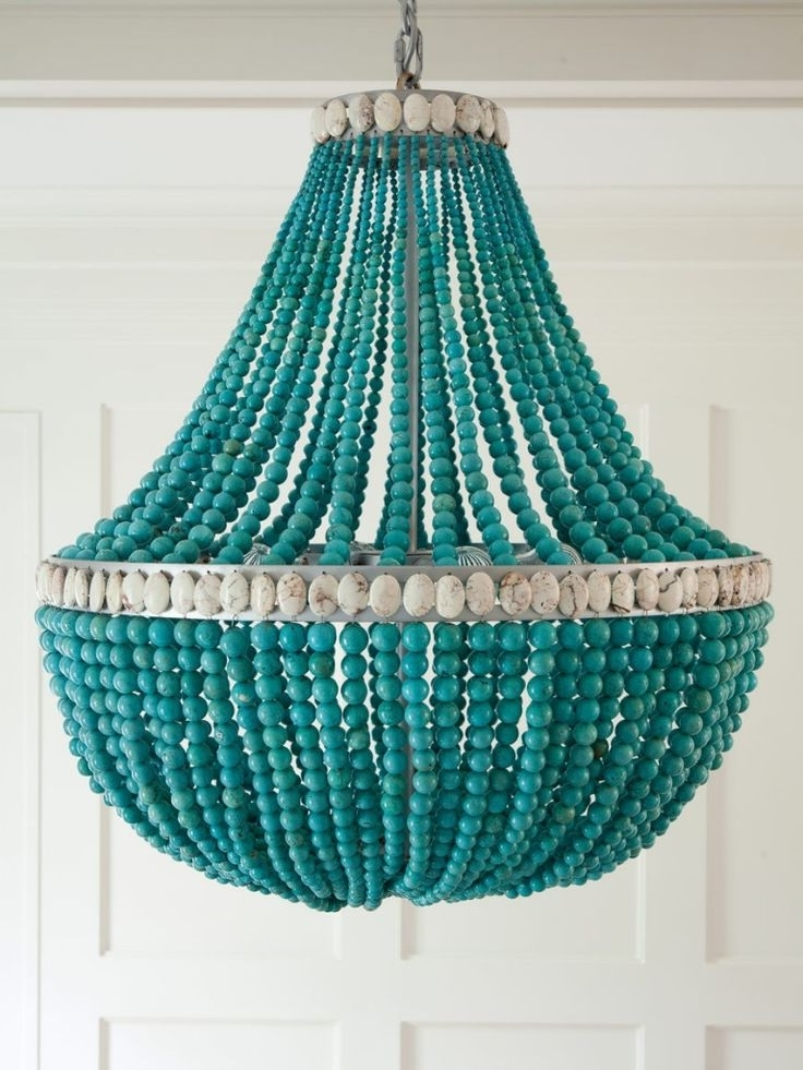 Turquoise Blue Beaded Chandeliers Within Most Recently Released Turquoise Beaded Chandeliers High Amp Diy Apartment Therapy (View 10 of 10)