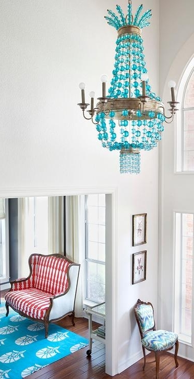 Turquoise Blue Chandeliers Throughout Popular Regina Andrew Turquoise Beaded Chandelier – Contemporary – Entrance (View 6 of 10)