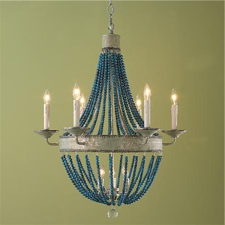 Turquoise Blue Chandeliers With Regard To Widely Used White Wood Beads And Iron Basket Chandelier (View 7 of 10)