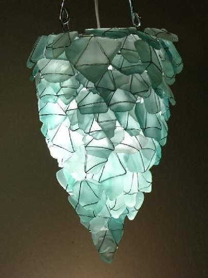 Turquoise Bubble Chandeliers For Newest Chandelier Or Pendant Light From Aqua Sea Glass (View 9 of 10)