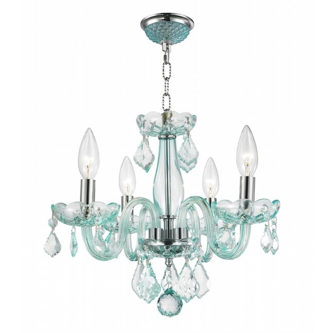 Turquoise Chandelier Crystals Regarding Most Up To Date W83100C16 Cb Clarion 4 Light Chrome Finish Coral Blue Crystal Chandelier (View 8 of 10)
