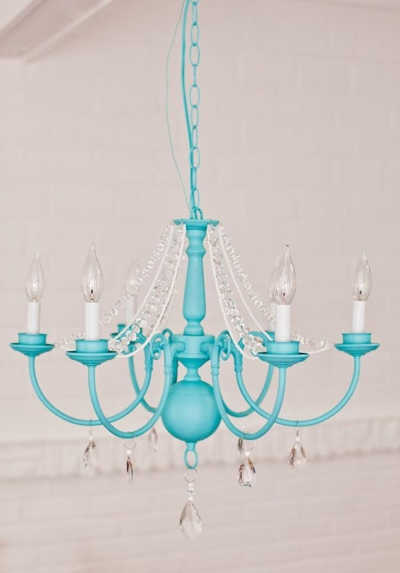 Turquoise Color Chandeliers Pertaining To Latest Victorian Mod Custom Chandeliers In Any Color //pink, Aqua (View 9 of 10)