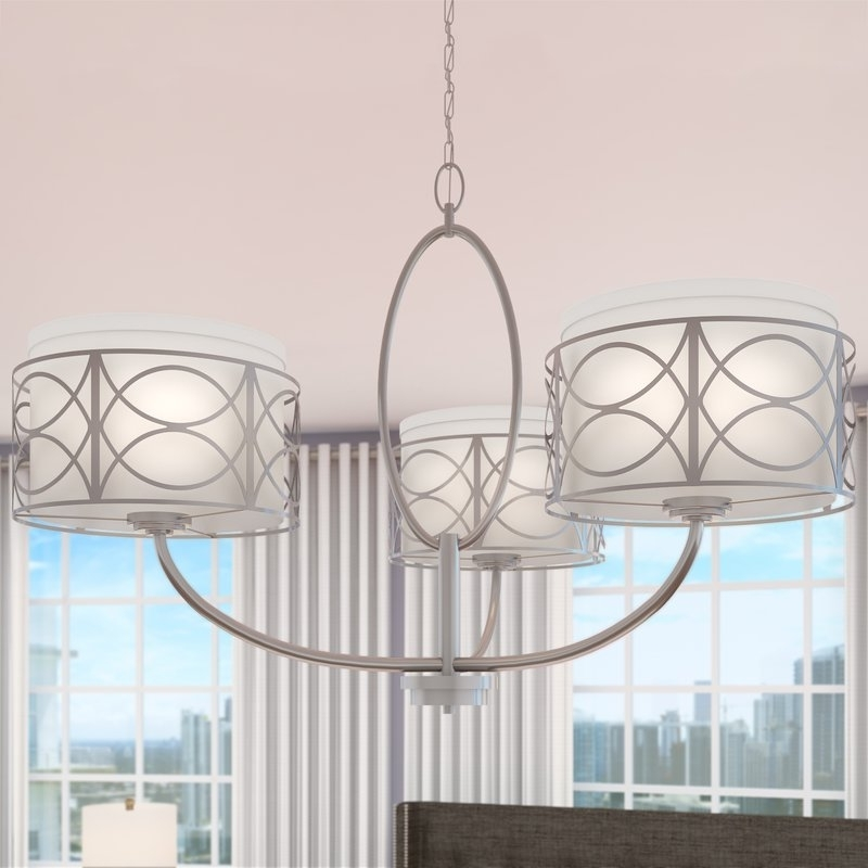 Turquoise Drum Chandeliers Intended For Newest Willa Arlo Interiors Helina 3 Light Drum Chandelier & Reviews (View 3 of 10)