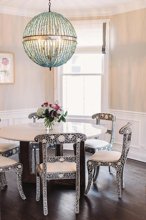 Turquoise Orb Chandeliers In 2018 Black And White Bone Inlay Dining Chairs With Turquoise Blue Beaded (View 10 of 10)