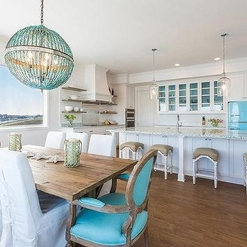 Turquoise Orb Chandeliers Pertaining To Most Current Turquoise Beaded Orb Chandelier Over Dining Table – Contemporary (View 3 of 10)