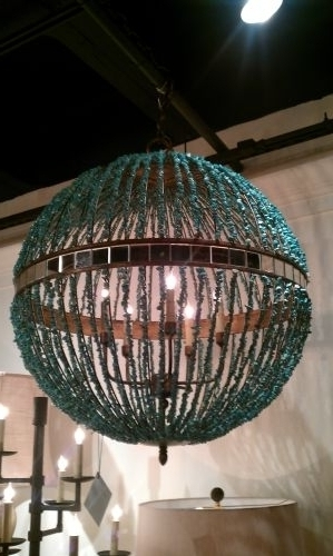 Turquoise Orb Chandeliers Throughout Preferred Turquoise Marble Orb Chandelier – The Designer Insider (View 8 of 10)