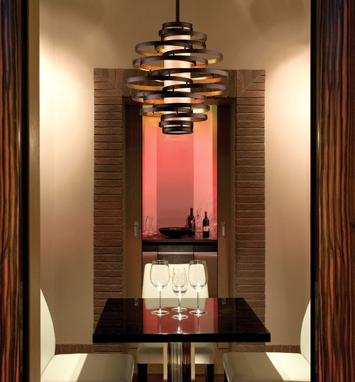Vertigo Spiral Bronze And Gold Leaf Modern Pendant Chandelier With Fashionable Bronze Modern Chandelier (View 9 of 10)